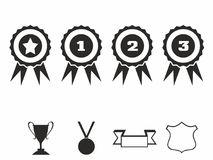 Rosette icons. Vector illustration Icon set of award badges. Medals with ribbons.race car motor Royalty Free Stock Photography