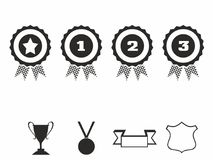 Rosette icons. Vector illustration Icon set of award badges. Medals with ribbons.race car motor Stock Image