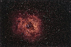 Rosette Nebula beautiful night sky The Rose of Night Sky Stock Photo