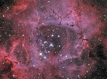 The Rosette Nebula. A large HII nebula in the constellation Monoceros royalty free stock image