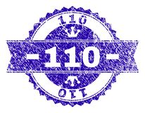 Grunge Textured 110 Stamp Seal with Ribbon. 110 rosette seal watermark with grunge texture. Designed with round rosette, ribbon and small crowns. Blue vector stock illustration