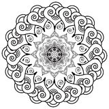 Rosette style mandala flower inspired by Asian culture and henna mehndi tattoo elements in black and white on white background Royalty Free Stock Photography