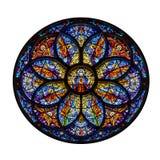 Rosette Window Mosaic Art Isolated på vit Fotografering för Bildbyråer