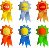Rosettes. Award icons isolated on white Stock Photography
