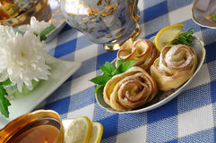 Rosettes from apples and dough Royalty Free Stock Images