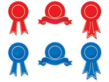 Rosettes and banners. Set of red and blue rosettes and banners. No gradient meshes used, so very easy to edit Stock Image