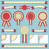 Rosettes and ribbons Stock Image