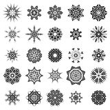 Rosettes Tattoo Design. Set of Different Tribal Rosettes Tattoo Design Isolated on White Background. Polynesian Design Royalty Free Stock Image