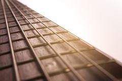 Rosewood bass guitar fret board and strings. With bright backlight closeup stock image