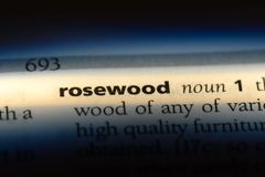 Rosewood. Word in a dictionary.  concept stock photos