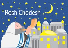 Rosh Chodesh holiday that marks the beginning of each Hebrew month.  royalty free illustration