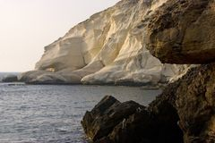 Rosh Hanikra. A look from the sea Stock Photos