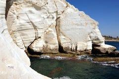Rosh HaNikra grottor - Israel Arkivbild