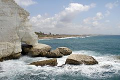 Rosh Hanikra Grottos. The grottos at Rosh Hanikra are natural caves carved out of the chalky cliffs by the Mediterranean Sea in Northern Israel Stock Photography