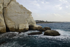 Rosh HaNikra in Israel near the Lebanon border. View of the coastline at the Israel bordering with Lebanon of Rosh HaNikra near the Grottoes Stock Image