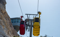 ROSH HANIKRA, ISRAEL. Yellow funicular car Stock Photos