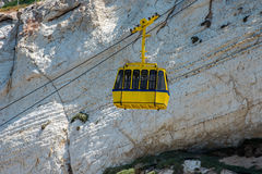 ROSH HANIKRA, ISRAEL. Yellow funicular car Royalty Free Stock Photos