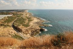 Northern point of Israel and Rosh Hanikra sea reserve. Rosh Hanikra is the most Nothern point of Israel. From here opens a view o miles of the coast and Royalty Free Stock Photos