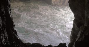 Rosh Hanikra sea cave and rough water stock footage