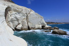 Rosh Hanikra White Cliffs & Grotto in Israel. View of the white chalk cliffs of Rosh Hanikra, located on the coast of the Mediterranean Sea, in Western Galilee Royalty Free Stock Photo