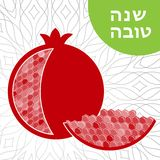 Rosh hashana card. Jewish New Year. Greeting text Shana tova on Hebrew - Have a good year. Pomegranate vector illustration Stock Images