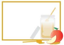 Rosh Hashana Greeting card. Frame, Apple and Honey on White background Royalty Free Stock Image