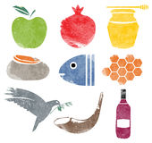 Rosh Hashana icons set for Shana Tova Royalty Free Stock Photo