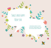 Rosh hashana Jewish holiday greeting card with. Rosh hashana Jewish holiday greeting card  with flower frame Stock Image