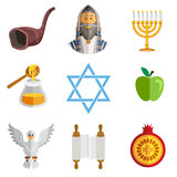 Rosh Hashana Jewish New Year Yom Kippur Icons Stock Photography