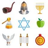 Rosh Hashana Jewish New Year Yom Kippur Icons stock photography