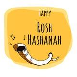 Rosh Hashana - judiskt nytt år - fastställd design för hälsningkort med handteckningsbeståndsdelar Royaltyfri Bild