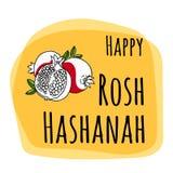 Rosh Hashana - judiskt nytt år - fastställd design för hälsningkort med handteckningsbeståndsdelar Arkivbilder