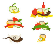Rosh hashana labels and icons.  Jewsh holiday Stock Images