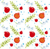 Rosh Hashana Pattern. Vector pattern of pomegranate, olive branch and peace dove. Eps10 Royalty Free Stock Photography