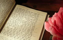 Rosh Hashana text with rose Royalty Free Stock Photos