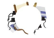 Rosh Hashana and Yom Kippur Jewish holiday background. Jewish religion elements around White circle Stock Images