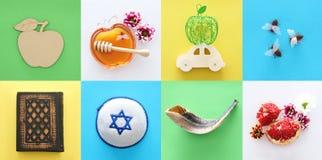 Rosh hashanah & x28; żydowski nowego roku holiday& x29; kolażu pojęcie symbole tradycyjni fotografia royalty free
