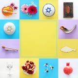 Rosh hashanah & x28; żydowski nowego roku holiday& x29; kolażu pojęcie symbole tradycyjni obrazy stock