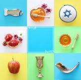 Rosh hashanah & x28; żydowski nowego roku holiday& x29; kolażu pojęcie symbole tradycyjni obrazy royalty free