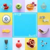 Rosh hashanah & x28; żydowski nowego roku holiday& x29; kolażu pojęcie symbole tradycyjni zdjęcie stock