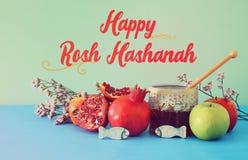 Rosh hashanah & x28; żydowski nowego roku holiday& x29; pojęcie symbole tradycyjni fotografia royalty free