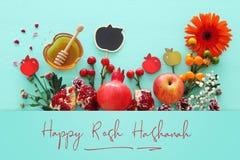 Rosh hashanah & x28; żydowski nowego roku holiday& x29; pojęcie symbole tradycyjni zdjęcia royalty free