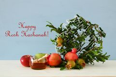 Rosh hashanah & x28; żydowski nowego roku holiday& x29; pojęcie symbole tradycyjni obrazy stock