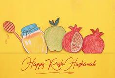 Rosh hashanah & x28; żydowski nowego roku holiday& x29; pojęcie Tradycyjni symboli/lów kształty ciący od papierowego i malujący zdjęcia stock