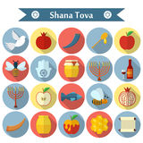 Rosh Hashanah, επίπεδα διανυσματικά εικονίδια της Shana Tova καθορισμένα Στοκ Φωτογραφίες