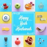 Rosh hashanah & x28; 犹太新年holiday& x29;拼贴画概念 传统的符号 免版税库存照片