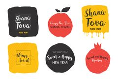 Rosh hashanah, abstract Jewish holiday icon set. Jewish new year Stock Photography