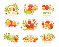 Rosh Hashanah Bright Postcard Labels Set Royalty Free Stock Images