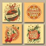 Rosh hashanah cards samlingen royaltyfri illustrationer