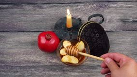 Rosh Hashanah celebration. Jewish New Year Holiday. stock video footage